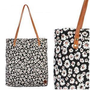 Handbags - Black Floral Tote